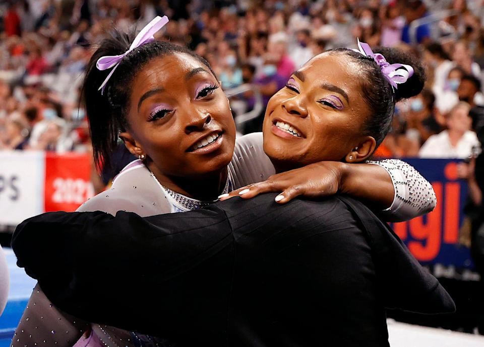 Jordan Chiles, right, is an early favorite to join Simone Biles on the U.S. team for Tokyo.