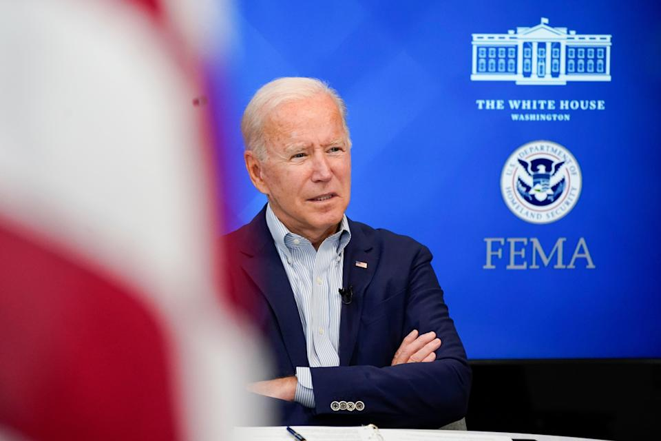 President Joe Biden listens during a FEMA briefing on Hurricane Ida in the South Court Auditorium in the Eisenhower Executive Office Building on the White House Campus, Saturday, Aug. 28, 2021, in Washington. (AP Photo/Manuel Balce Ceneta) (Copyright 2021 The Associated Press. All rights reserved.)