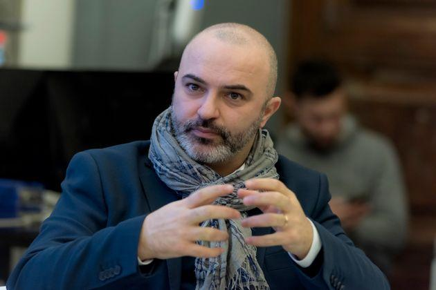ROME, ITALY - FEBRUARY 04: Mayor Raggi's Chief of Staff in charge of Innovation, Massimo Bugani, attends the press conference