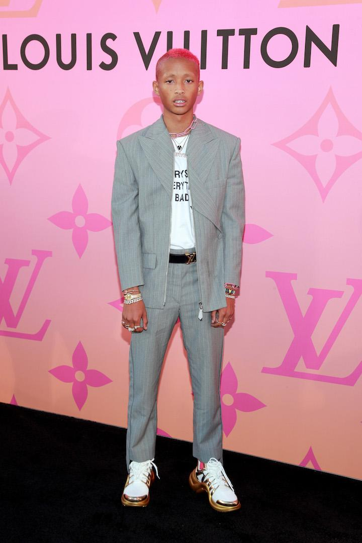 Jaden Smith rocked pink hair at the starry event teamed with a chic co-ord and chunky trainers. <em>[Photo: Getty]</em>
