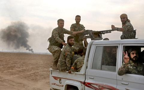 Pro-Turkish Syrian fighters claim to have captured 18 villages in the four days of fighting - Credit: Nazeer al-Khatib/AFP