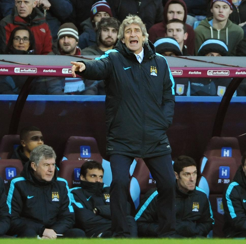 Manchester City manager Manuel Pellegrini gives instructions during the English FA Cup fourth round soccer match between Aston Villa and Manchester City at Villa Park in Birmingham, England, Saturday, Jan. 30, 2016. (AP Photo/Rui Vieira)
