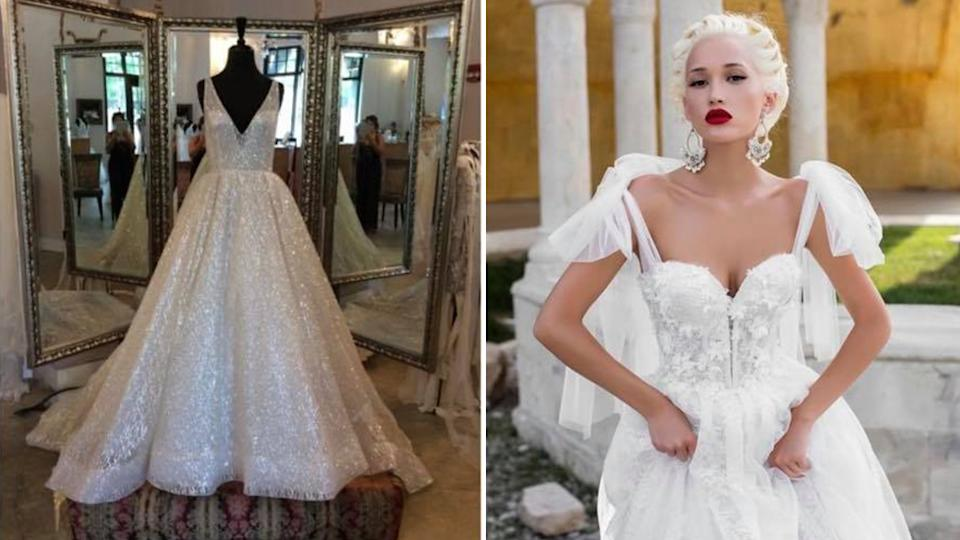 A composite image of a wedding dress on a mannequin and A model wearing a wedding dress