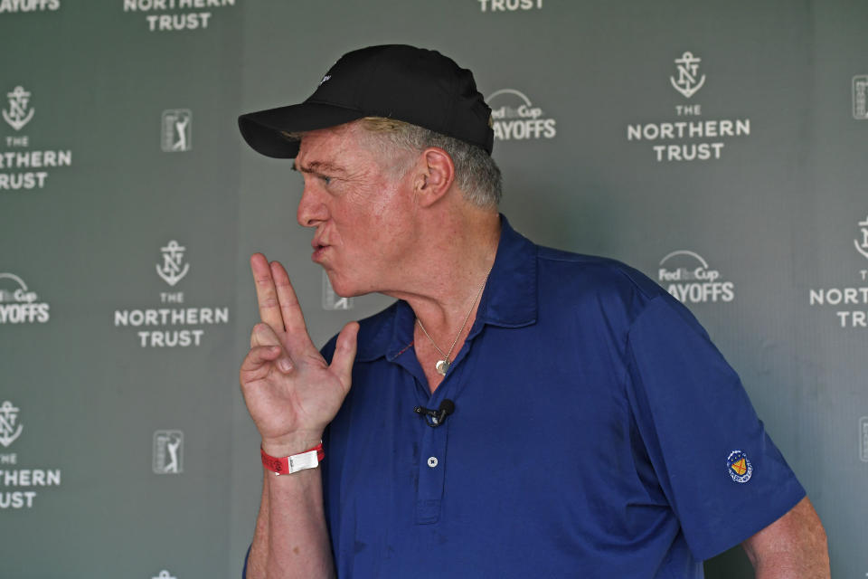 Christopher McDonald (Shooter McGavin from Happy Gilmore) stops by the interview area at THE NORTHERN TRUST in 2018