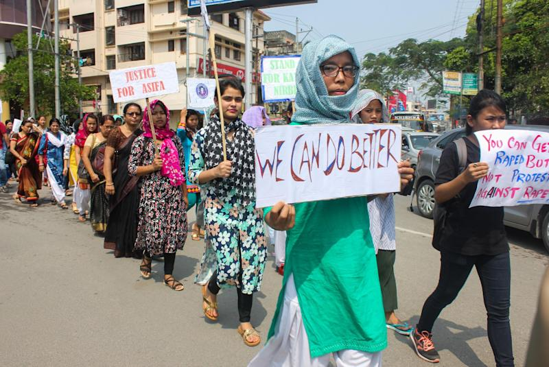 Women protesting against the rape, murder and harassment of women and children in Guwahati, Assam, April 2018: Rex