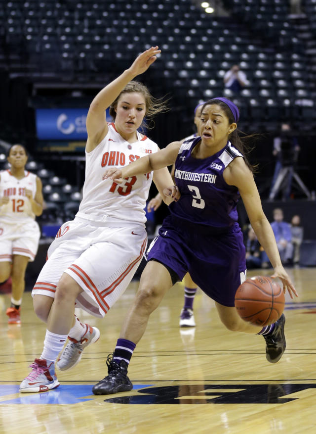 Northwestern guard Ashley Deary, right, drives on Ohio State guard Cait Craft ''in the second half of an NCAA college basketball game in the opening round of the Big Ten Tournament in Indianapolis, Ind., Thursday, March 6, 2014. Ohio State defeated Northwestern 86-77. (AP Photo/Michael Conroy)