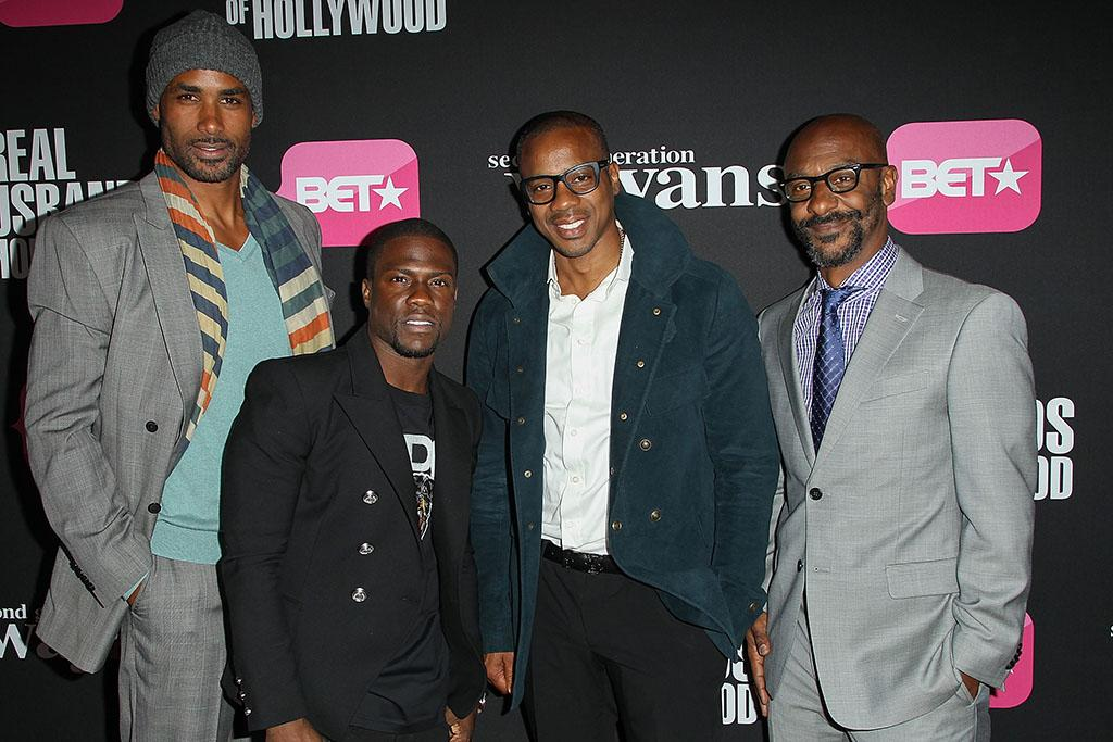 "Boris Kodjoe, Kevin Hart, Duane Martin and Stephen Hill, President of BET, arrive at the screenings of BET Networks' ""Real Husbands of Hollywood"" and ""Second Generation Wayans"" held at the Regal Cinemas L.A. Live on January 8, 2013 in Los Angeles, California."