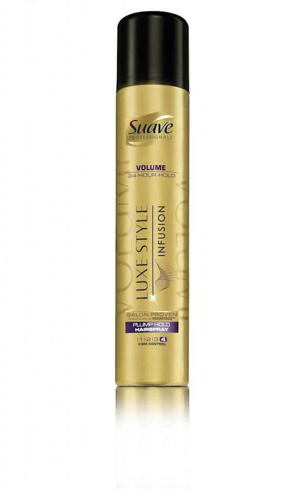 <p>Hold a twisted pony in place with Suave Professionals Luxe Style Infusion Weightless Blow Dry Spray, $4.99, walmart.com </p>