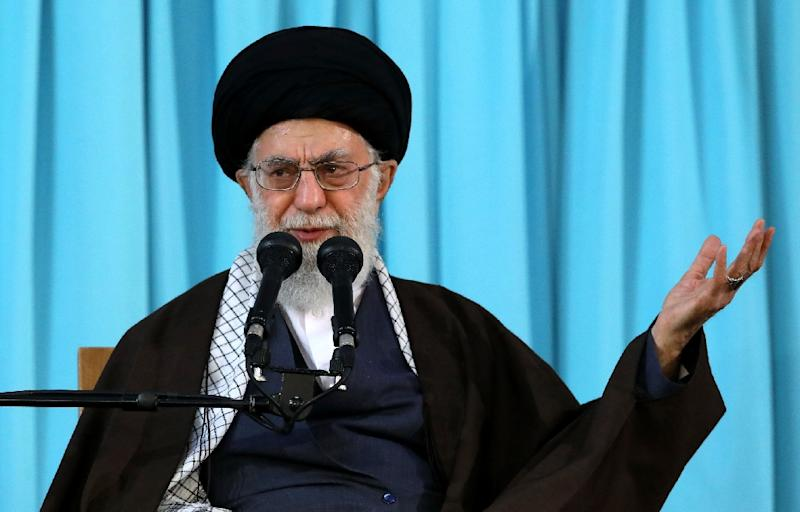 Iran's supreme leader Ayatollah Ali Khamenei, pictured in this handout photo from March 2018, said on May 23 that the United States does not honor its promises