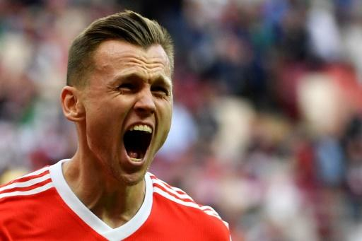 Flying start: Russia thrashed Saudi Arabia 5-0 in the opening game of the World Cup