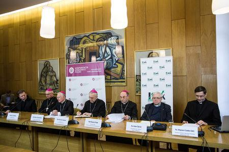 Bishop Mizinski, Archbishops Jedraszewski Gadecki, Polak, priests Zak and Sadlon attend a news conference in Warsaw