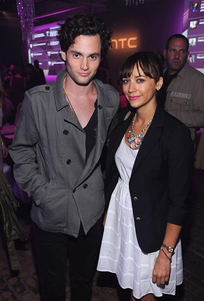 """Despite the fact that they probably both own iPhones, pals Penn Badgley and Rashida Jones popped by for some swag and champagne ... and we don't blame them! Dimitrios Kambouris/<a href=""""http://www.wireimage.com"""" target=""""new"""">WireImage.com</a> - September 21, 2011"""