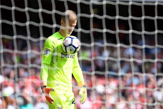 """Soccer Football - Premier League - Arsenal v West Ham United - Emirates Stadium, London, Britain - April 22, 2018 West Ham United's Joe Hart in action Action Images via Reuters/Tony O'Brien EDITORIAL USE ONLY. No use with unauthorized audio, video, data, fixture lists, club/league logos or """"live"""" services. Online in-match use limited to 75 images, no video emulation. No use in betting, games or single club/league/player publications. Please contact your account representative for further details."""