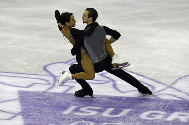 Russian skaters Ksenia Stolbova and Fedor Limov compete during the pairs short program of the ISU Grand Prix of Figure Skating Final 2015 in Barcelona on December 10, 2015 (AFP Photo/Lluis Gene)