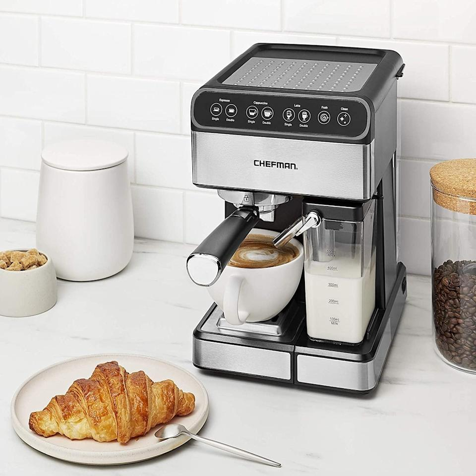 <p>The <span>Chefman 6-in-1 Espresso Maker</span> ($180) is a one-stop-coffee shop with a built-in milk frother and 15-bar pump.</p>