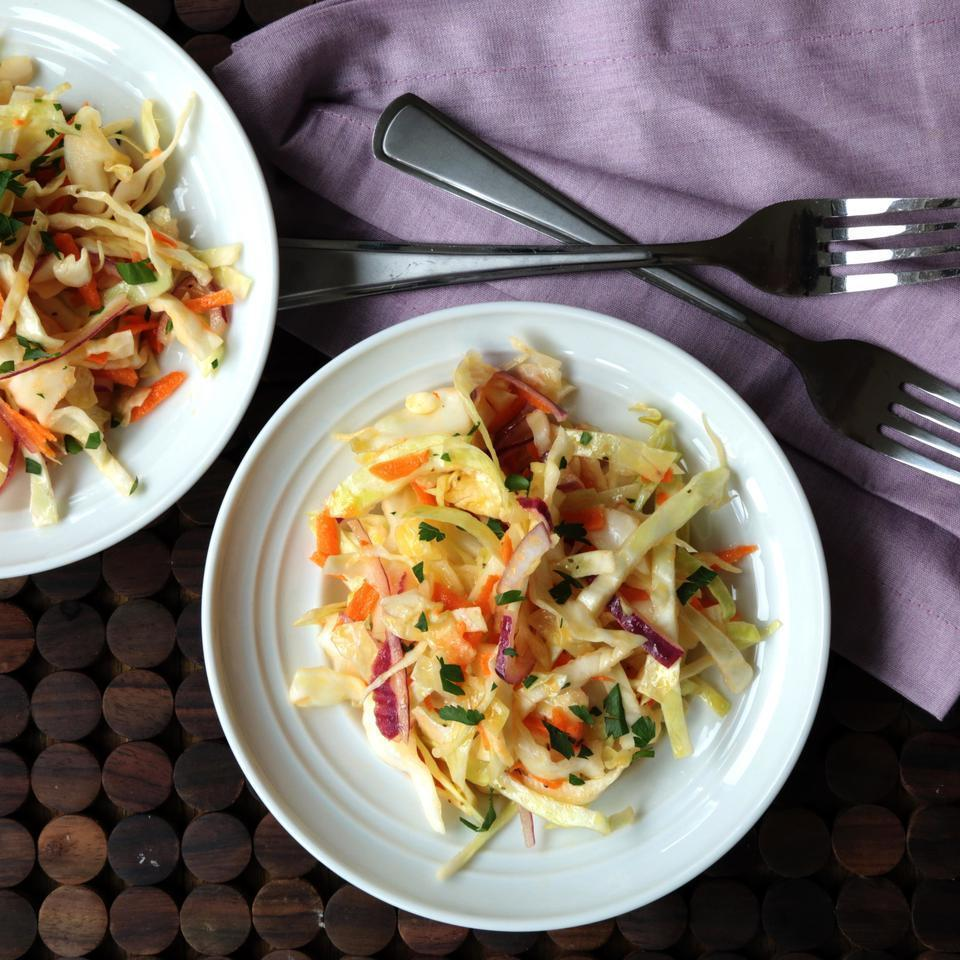 """<p>Forget mayonnaise-laden coleslaw. The bright, clean flavors in this version go well with everything from tacos to barbecue. <a href=""""http://www.eatingwell.com/recipe/249197/vinegary-coleslaw/"""" rel=""""nofollow noopener"""" target=""""_blank"""" data-ylk=""""slk:View recipe"""" class=""""link rapid-noclick-resp""""> View recipe </a></p>"""