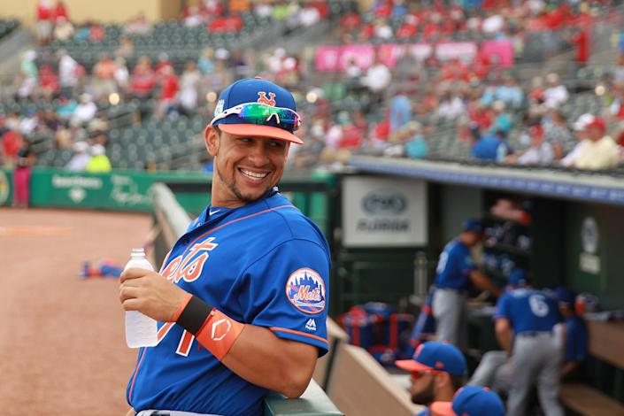 <p>New York Mets catching prospect Xorge Carrillo stands on the field before the spring training baseball game against the St. Louis Cardinals at Roger Dean Stadium in Jupiter, Fla., Wednesday, March 1, 2017. Carrillo has spent the two seasons with the Mets AA team in Binghamton. (Gordon Donovan/Yahoo Sports) </p>