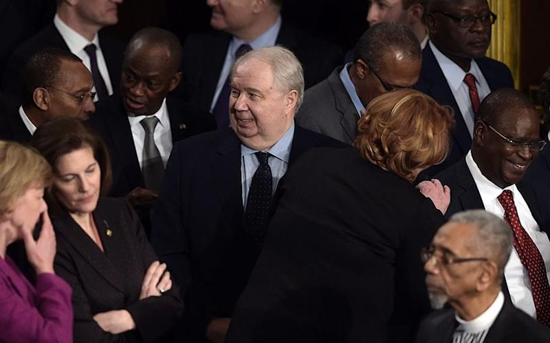 Russian Ambassador to the US Sergey Kislyak, centre, arrives before Donald Trump's addresses to congress on February 28 - Credit: Getty Images