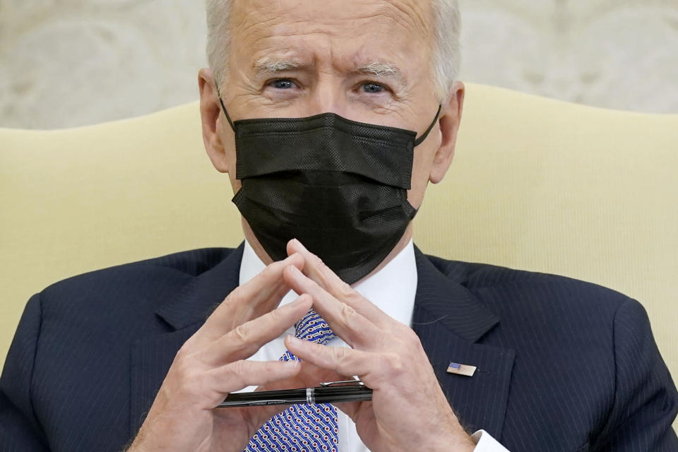 FILE - In this April 12, 2021, file photo President Joe Biden speaks during a meeting with lawmakers to discuss the American Jobs Plan in the Oval Office of the White House in Washington. (AP Photo/Patrick Semansky, File)