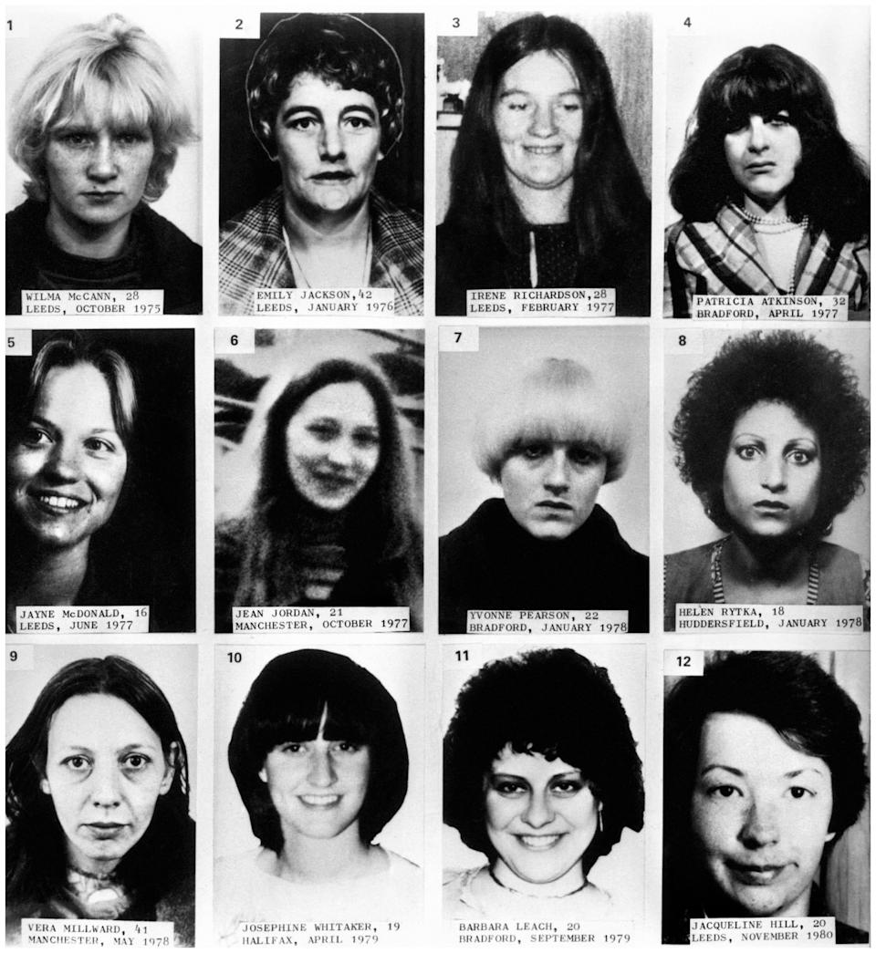 Handout composite photo of twelve of the thirteen victims of Peter Sutcliffe, the Yorkshire Ripper, who has died in hospital. Top row (left to right) Wilma McCann, Emily Jackson, Irene Richardson and Patricia Atkinson. Middle row (left to right) Jayne McDonald, Jean Jordan, Yvonne Pearson and Helen Rytka. Bottom row (left to right) Vera Millward, Josephine Whitaker, Barbara Leach and Jacqueline Hill.