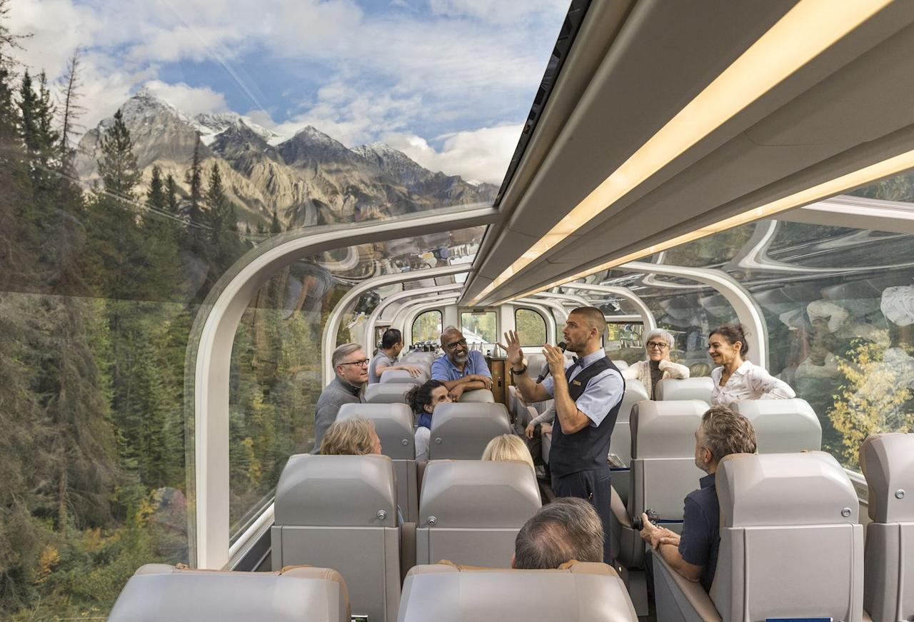 "<p>The iconic <a href=""https://www.goodhousekeeping.com/uk/lifestyle/travel/g29206452/rocky-mountaineer-train/"" target=""_blank"">Rocky Mountaineer</a> takes passengers across the dramatic wilderness of Canada's epic mountain range the Rockies, weaving through tunnels, across glacial rivers and verdant woods. </p><p>It offers a chance to spot grizzly bears, golden eagles and other alpine wildlife, as well as an amazing view from its panoramic windows for a world-class rail holiday.</p><p><strong>Titan Travel has 11-day Canada tours taking in a great train journey on the Rocky Mountaineer, from £4,149 per person for 11 days. </strong><a class=""body-btn-link"" href=""https://go.redirectingat.com?id=127X1599956&url=https%3A%2F%2Fwww.titantravel.co.uk%2Fdestinations%2Fnorth-america%2Fcanada%2Fthe-canadian-rockies%2Frocky-mountain-railtour&sref=https%3A%2F%2Fwww.goodhousekeeping.com%2Fuk%2Flifestyle%2Ftravel%2Fg27645232%2Frail-holidays%2F"" target=""_blank"">FIND OUT MORE</a></p>"