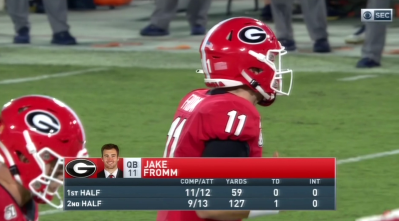 Jake Fromm starting throwing downfield and then Georgia took the lead on Notre Dame. (via CBS)