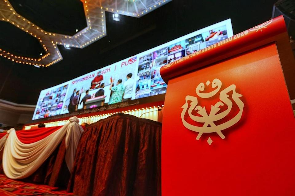 Preparations are underway for the upcoming Umno annual general meeting in PWTC, Kuala Lumpur March 25, 2021. — Picture by Ahmad Zamzahuri
