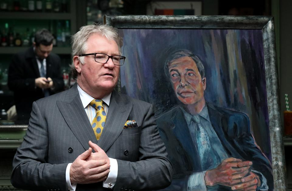 Comedian Jim Davidson at the unveiling of a portrait of Nigel Farage titled Mr Brexit, by artist Dan Llywelyn Hall, at L'Escargot Restaurant in London. PA Photo. Picture date: Thursday January 30, 2020. See PA story POLITICS Brexit. Photo credit should read: Luciana Guerra/PA Wire