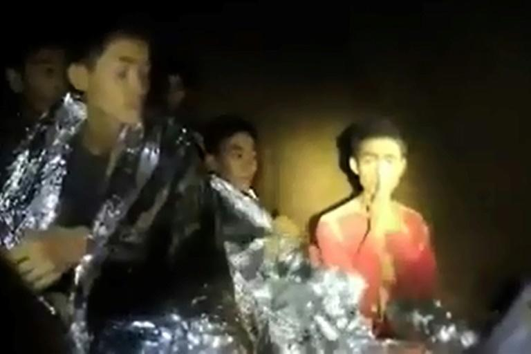 It was days into the 2018 Thai cave rescue operation before divers made contact with the trapped children (AFP/Handout)