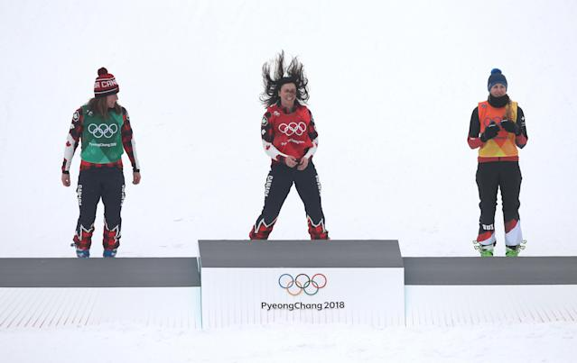 <p>Kelsey Serwa of Canada celebrates after winning Gold in the Women's Ski Cross Final during day fourteen at Phoenix Snow Park on February 23, 2018 in Pyeongchang-gun, South Korea. (Photo by Ian MacNicol/Getty Images) </p>