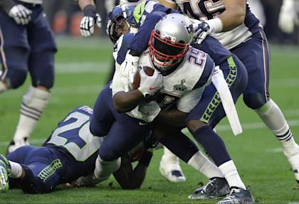 LeGarrette Blount didn't have a fumble in eight games with the Pats last season. (AP)