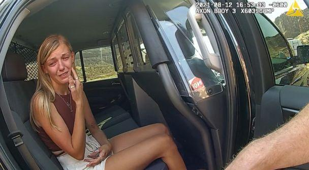 PHOTO: Gabby Petito touches her face while talking to police about her altercation with Brian Laundrie in police bodycam footage released Sept. 30 from an Aug. 12, 2021, incident in Moab, Utah. (Moab Police Department)