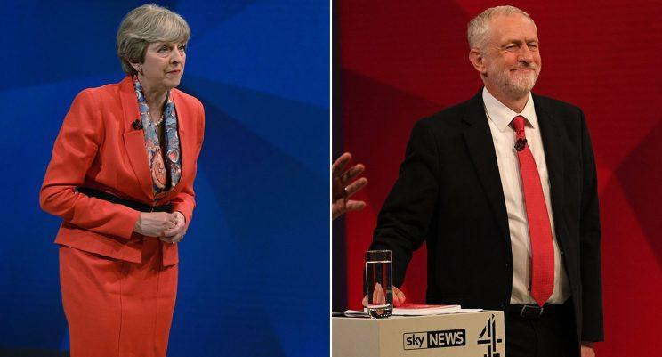 The Conservative and Labour leaders stood on the same stage, but not at the same time (Pictures: PA)