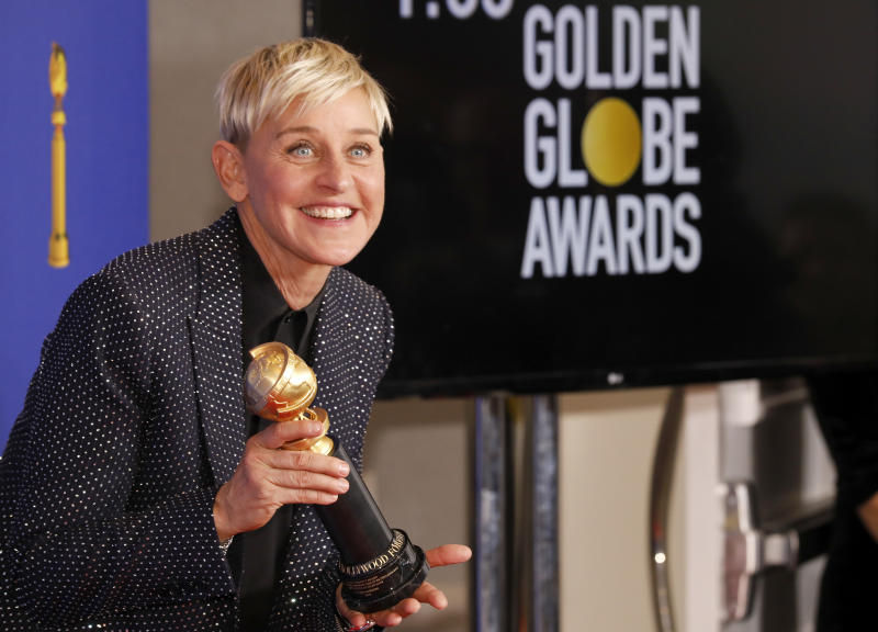 BEVERLY HILLS, CALIFORNIA - JANUARY 05: 77th ANNUAL GOLDEN GLOBE AWARDS -- Pictured: Carol Burnett Award winner Ellen DeGeneres at the 77th Annual Golden Globe Awards held at the Beverly Hilton Hotel on January 5, 2020. -- (Photo by: Kevork Djansezian/NBC/NBCU Photo Bank via Getty Images)