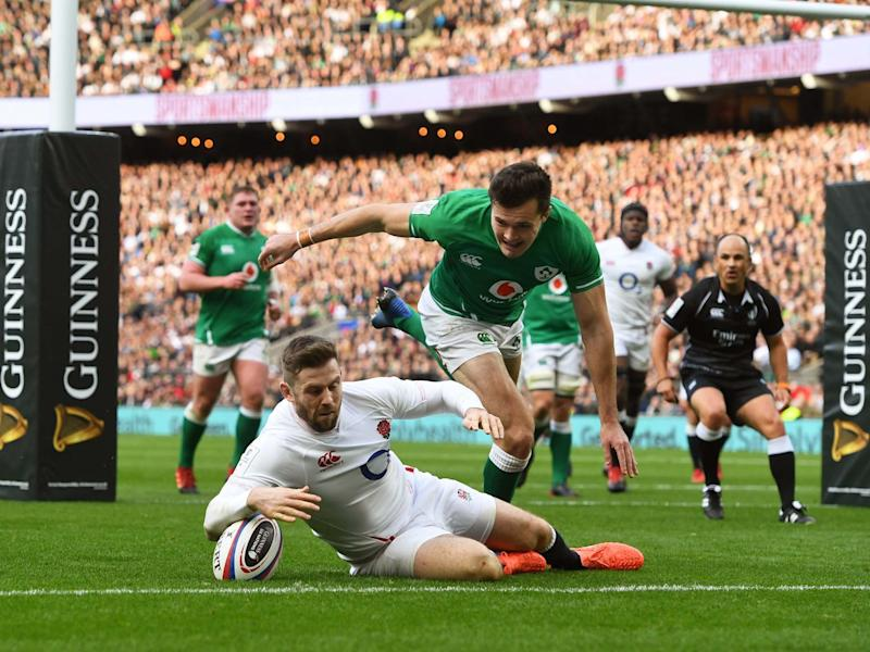 Elliot Daly touches down for England's second try against Ireland: EPA
