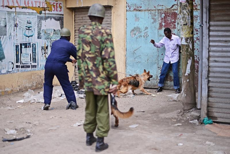 A Somali man is cornered by Kenyan police with guard dogs in the somali district of Eastleigh in Nairobi on November 19, 2012 a day after a bomb exploded in a minibus, killing seven (AFP Photo/Carl de Souza)