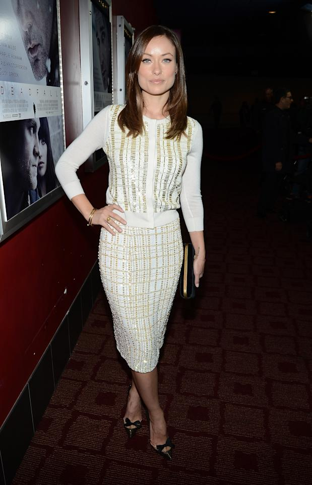 """HOLLYWOOD, CA - NOVEMBER 29:  Actress Olivia Wilde attends the premiere of Magnolia Pictures' """"Deadfall"""" at the at the ArcLight Cinemas on November 29, 2012 in Hollywood, California.  (Photo by Michael Buckner/Getty Images)"""
