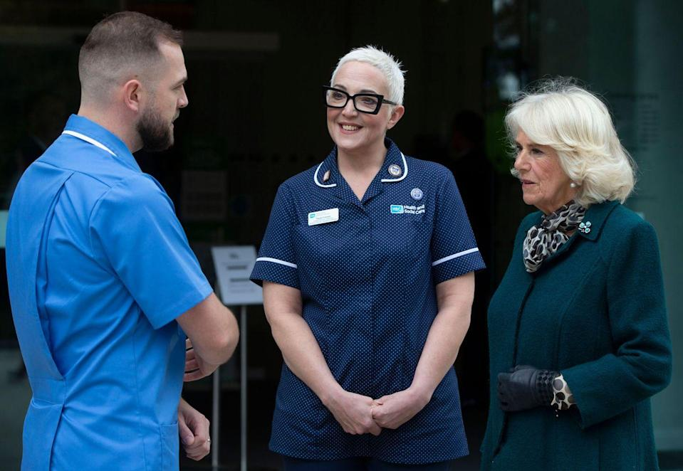 <p>Charles and Camilla then met with a group of nurses and midwives at the Belfast Health and Social Care Trust, a Northern Ireland healthcare organization. <br></p>