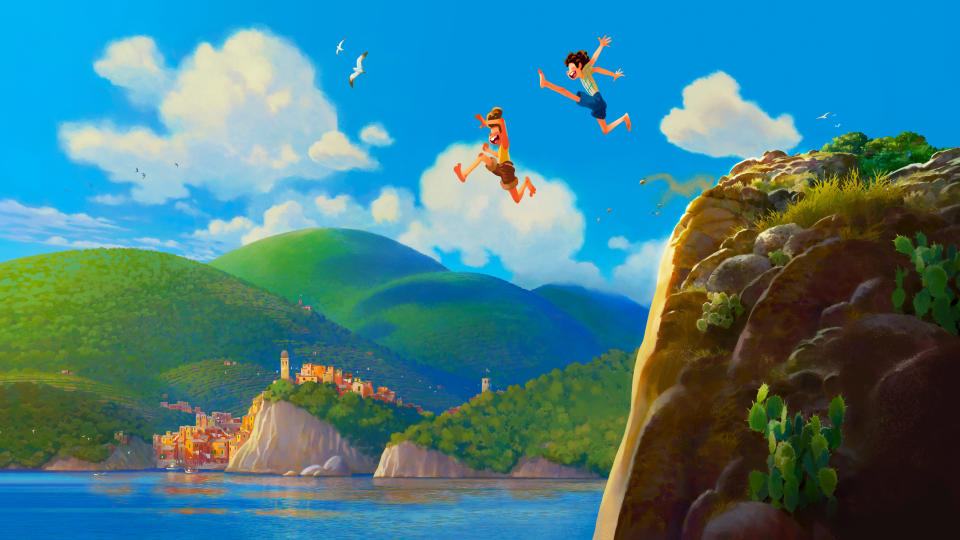 <em>Call Me By Your Name</em> appears to be the inspiration for Pixar's new original animation, which follows two boys sharing sun-baked adventures on the Italian Riviera. The twist? One of them is a sea monster. (Credit: Disney/Pixar)