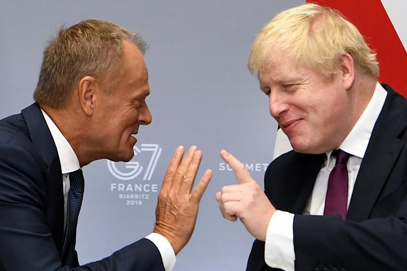 Prime Minister Boris Johnson with President of the European Council Donald Tusk during the G7 summit: Getty Images