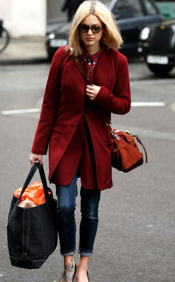 Fearne Cotton donned a buttoned up shirt in the Scottish print