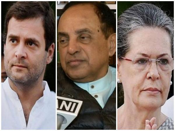 Congress leader Rahul Gandhi (left), BJP leader Subramanian Swamy and Congress President Sonia Gandhi
