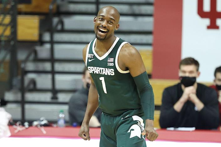 Michigan State guard Joshua Langford celebrates during the 78-71 win over Indiana in Bloomington, Indiana, on Saturday, Feb. 20, 2021.