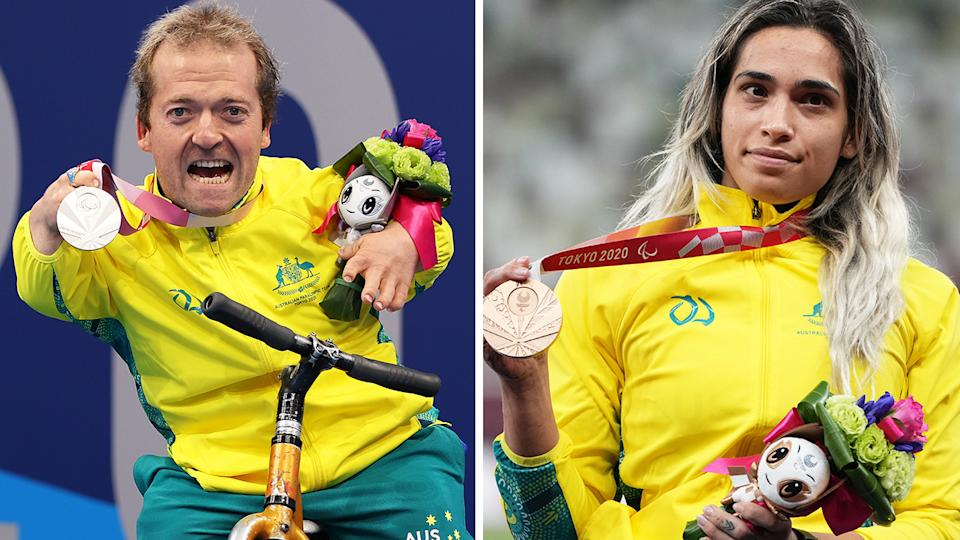 Australian Paralympic medallists, such as Grant Patterson and Madison de Rozario, will now be paid medal bonuses in line with their Olympic counterparts. Pictures: Getty Images