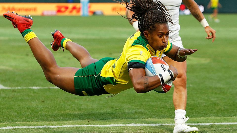 Ellia Green, pictured here in action at the 2018 Rugby World Cup Sevens.