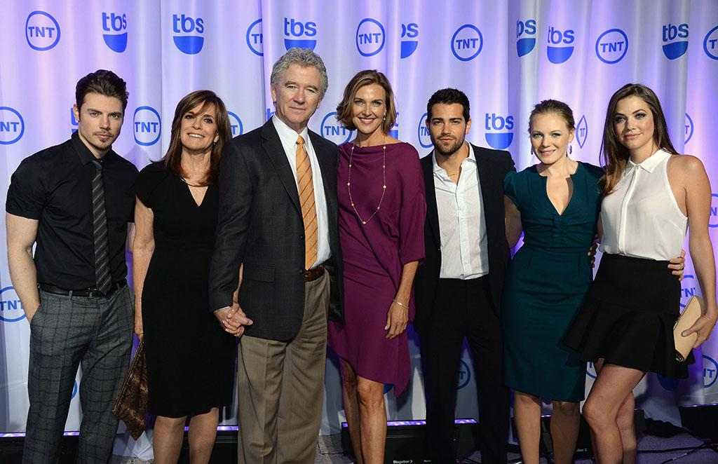 "Josh Henderson, Linda Gray, Patrick Duffy, Brenda Strong, Jesse Metcalfe, Emma Bell and Julie Gonzalo (""Dallas"") attend the 2013 TNT/TBS Upfront at Hammerstein Ballroom on May 15, 2013 in New York City."