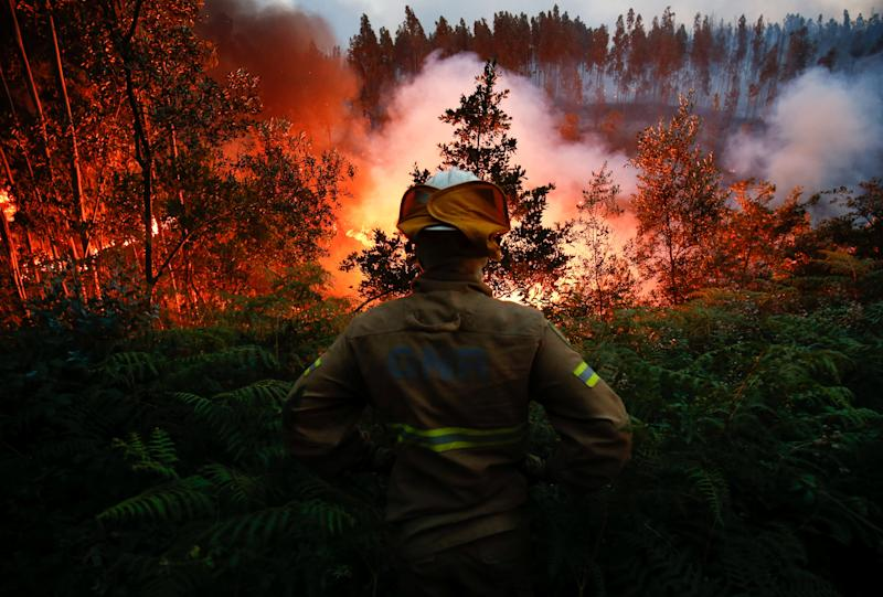 A firefighter watches ablaze near the village of Fato in central Portugal on June 18, 2017. (Rafael Marchante / Reuters)