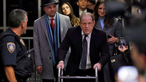 PHOTO: Harvey Weinstein leaves court in his rape trial, in New York, Wednesday, Jan. 22, 2020. Two of his attorneys, Arthur Aidala, and Donna Rotunno, are background left and background right. (Richard Drew/AP)