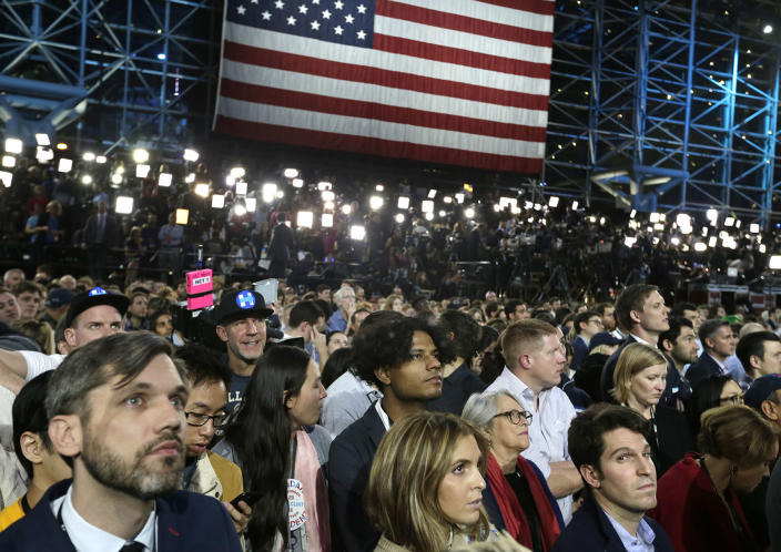 <p>Supporters watch election results during Democratic presidential nominee Hillary Clinton's election night rally in the Jacob Javits Center glass enclosed lobby in New York, Nov. 8, 2016. (Photo: Frank Franklin II/AP) </p>