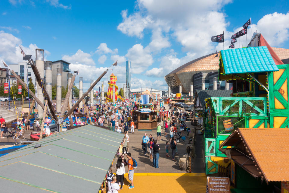 Cardiff, United Kingdom - August 29, 2016: Tourists and Locals enjoying the Bank Holiday at the bank holiday at the annual Cardiff Harbour Festival & P1 Welsh Grand Prix of the Sea in Cardiff Bay.